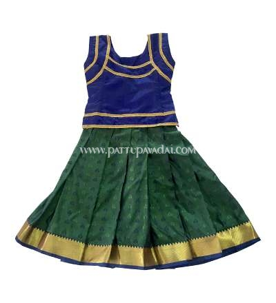 Pure Soft Silk Pavadai Navy Blue and Green online USA