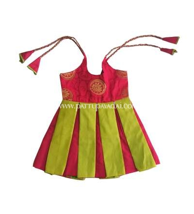 Raw Silk Frock Red and Green, Available only at pattupavadai.com