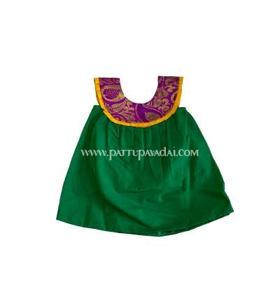 Silk Cotton Frock Green and Pink