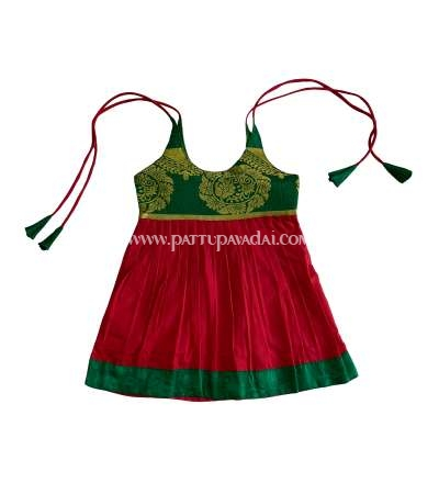 Buy Raw Silk Frock Green and Red