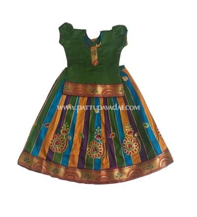 Raw Silk Pavadai Green Top and Multi-Coloured Skirt for Baby Girls