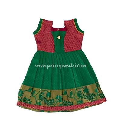 Raw Silk Toddler Frock - Green and Pink