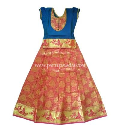 Online Red and Blue Pure Silk Pavadai