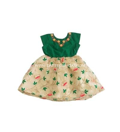 Rich Organza Frock Green and Sandal