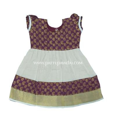 Sandal and Brown Onam Frock