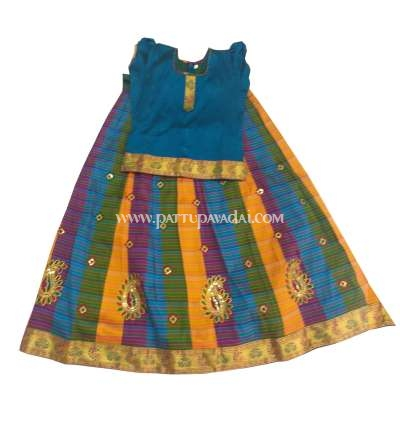 Semi Raw Silk Pavadai Blue Top and Multi-Coloured Skirt