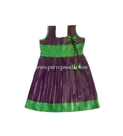 Semi Silk Frock Violet and Green
