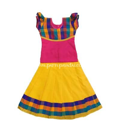 Silk Cotton Checked Pavadai Yellow and Pink