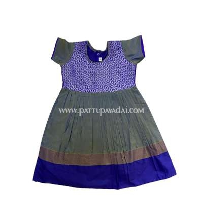Silk Cotton Frock Grey and Blue
