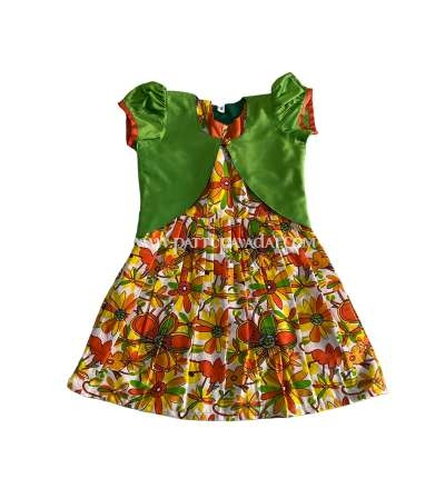 Silk Cotton Frock Pista Green with Shrugs