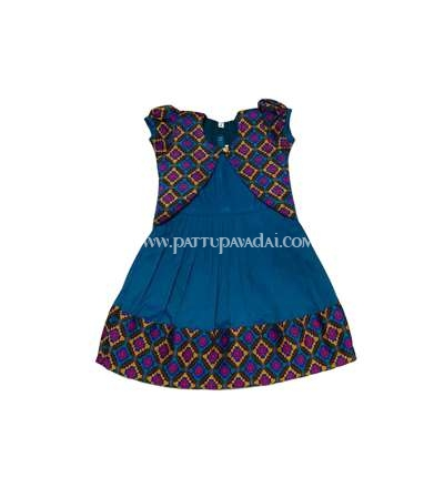 Silk Cotton Frock Rama Blue with Shrugs