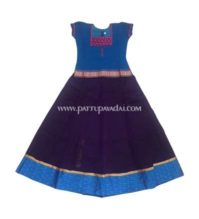 Silk Cotton Pavadai Blue and Violet