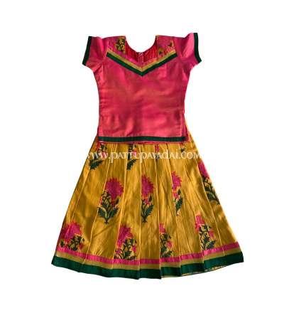 Silk Cotton Pavadai Set Pink and Yellow