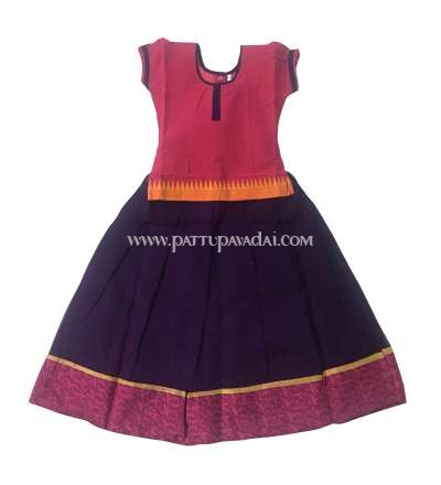 Buy Online Silk Cotton Pavadai Violet and Pink