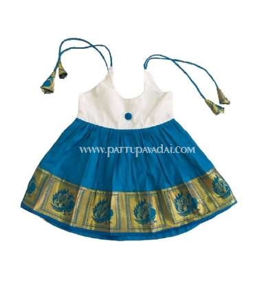 Silk Frock Cream and Blue
