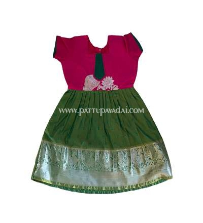 Silk Frock Green and Pink
