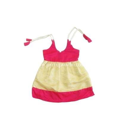 Buy Online Silk Frock Pink and Golden