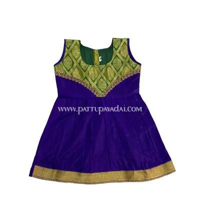Buy kids Pure Silk Frock Violet and Golden Online USA