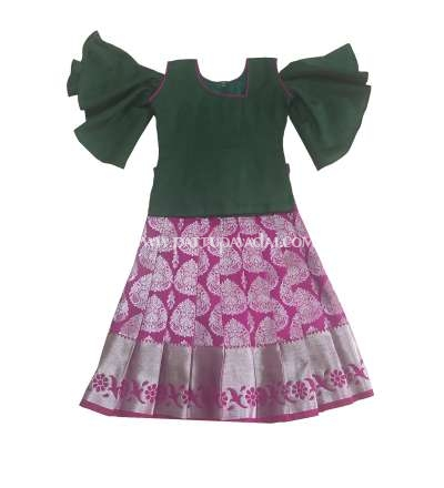 Buy Silk Pavadai Dark Green and Magenta