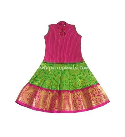 Silk Pavadai Ethnic Wear Green and Pink