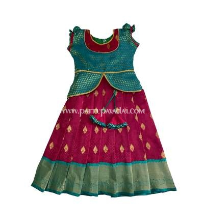 Silk Pavadai Ethnic Wear Green and Red