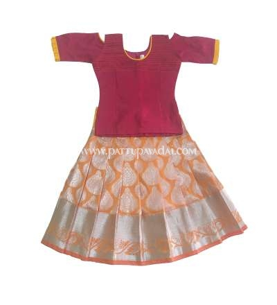 Silk Pavadai Ethnic Wear Mustard and Pink