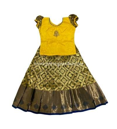 Buy Silk Pavadai Yellow and Olive Green