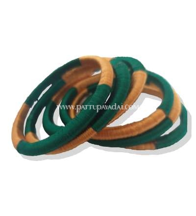 Silk Thread Bangle 6 nos Green and Golden