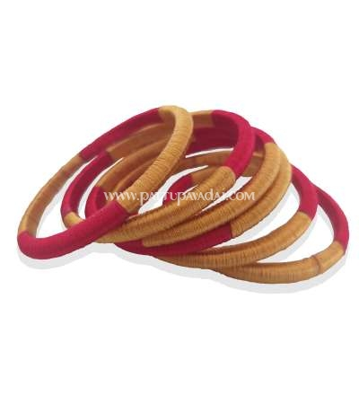 Silk Thread Bangle 6 nos Red and Golden