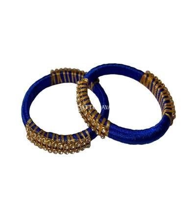 Silk Thread Bangle Blue And Golden