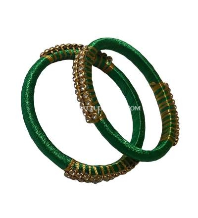 Silk Thread Bangle Green  and Golden