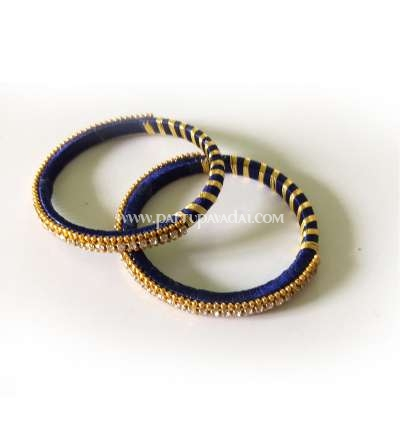 Silk Thread Bangle Navy Blue and Golden