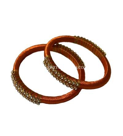 Silk Thread Bangle Orange and Golden