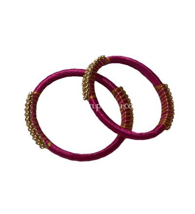 Silk Thread Bangle Pink and Golden