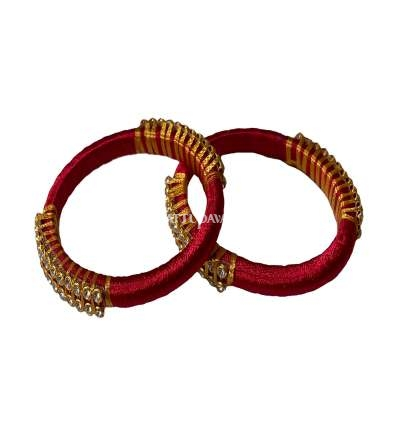 Silk Thread Bangle Red and Golden
