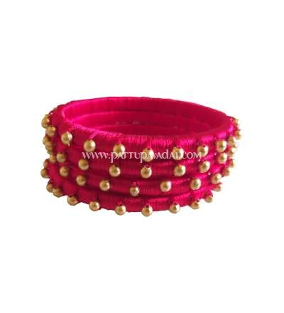 Silk Thread Bangle Red with Beads