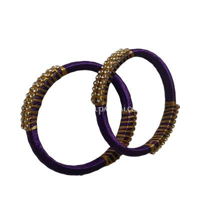 Silk Thread Bangle Violet and Golden