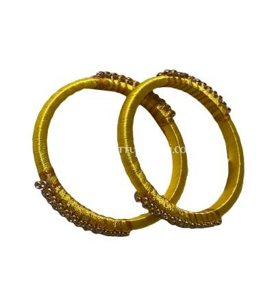 Silk Thread Bangle Yellow and Golden