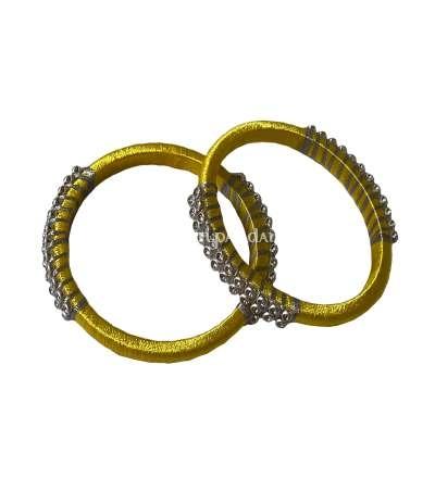 Silk Thread Bangle Yellow and Silver
