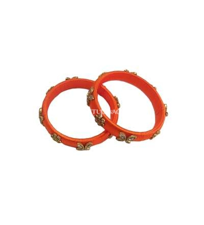 Silk Thread Designer Bangle Orange