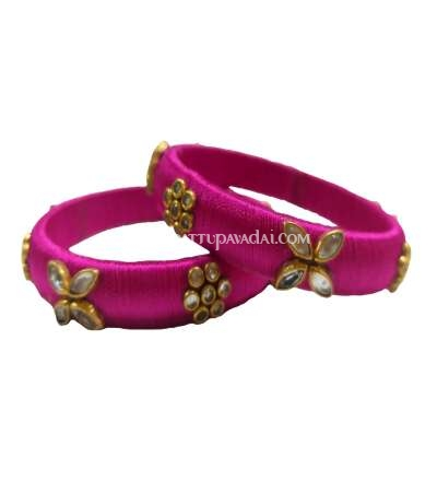 Silk Thread Designer Bangle Pink