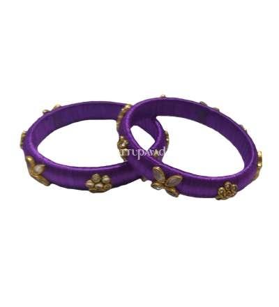 Silk Thread Designer Bangle Violet