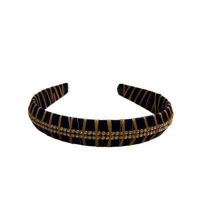Silk Thread Headband 3line stones Navyblue