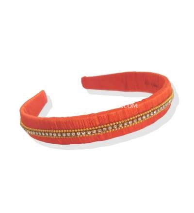 Silk Thread Headband 3line stones Orange