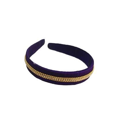Silk Thread Headband 3line stones Violet