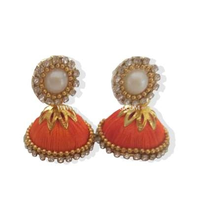 Buy Online Orange Silk Thread Jhumkas Embellished With Stones And Pearls