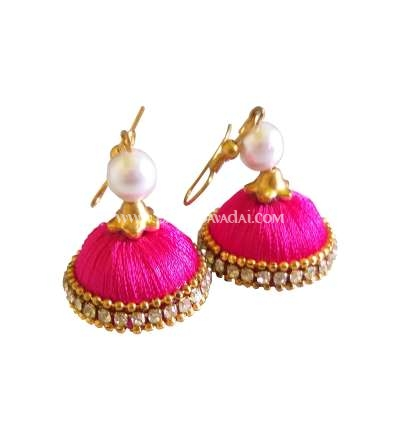 Buy Online Pink Silk Thread Jhumkas Embellished With Stones And Pearls