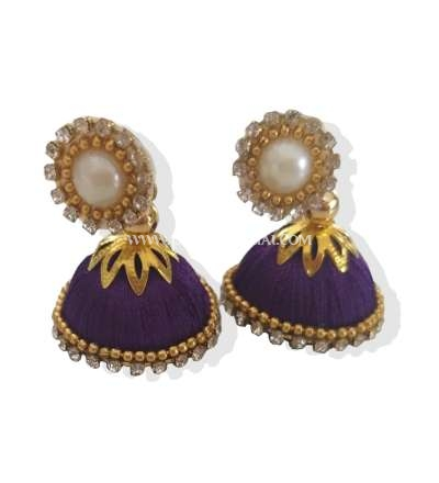 Buy Online Violet Silk Thread Jhumkas Embellished With Stones And Pearls