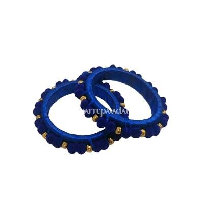 Silk Thread Pom Pom Bangle Blue