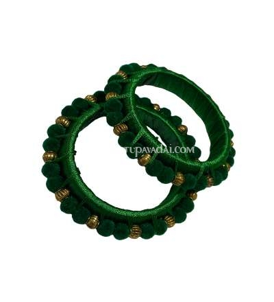 Silk Thread Pom Pom Bangle Green